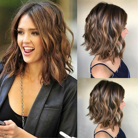 medium haircuts, Wavy Falling Layers