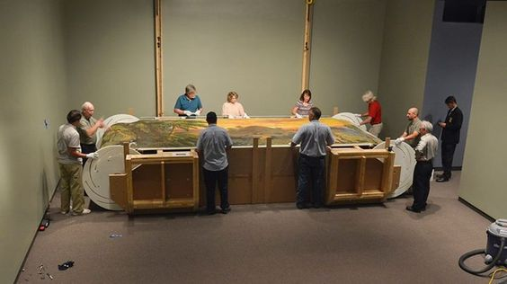"""Here's a sneak peek of museum staff preparing the last surviving panorama of the Mississippi, painted by John J. Egan in about 1850. Very popular in the 19th century, these giant scrolling paintings were forerunners to 20th-century motion pictures."" (Amon Carter Museum of American Art)"