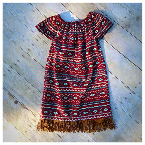 Girls peasant dress, girls' clothing, fringe dress, bith announcement, toddler summer dress, baby girl dress, aztec print dress, baby shower