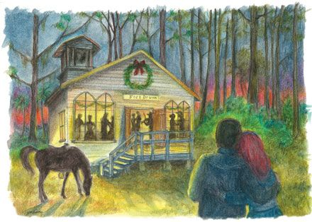 The card is based upon a scene from the Florida cracker classic, A Land Remembered, Patrick D. Smith's enduring novel about Florida pioneers. In fact, the card's concept was proposed and sketched by Patrick Smith himself. He wanted it to be a limited edition Christmas card, a tradition we started in 2009.