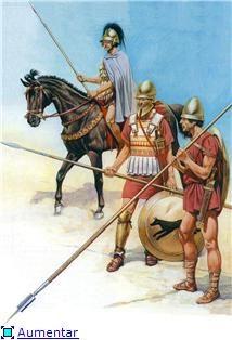 Equestrian geitar, Macedonian hoplites front and back row of phalanx IV century BC.