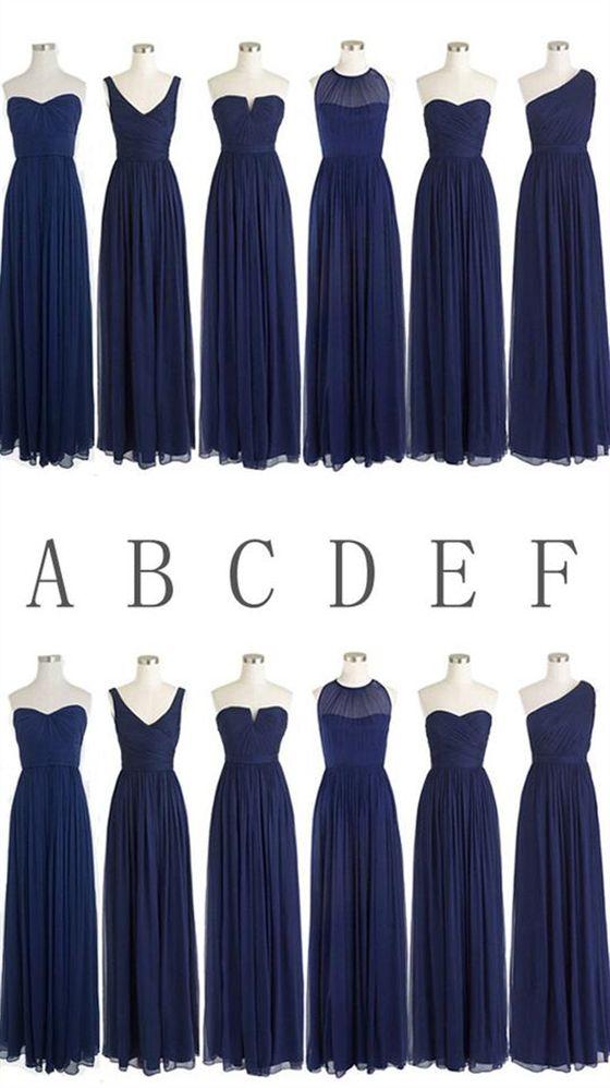 Simple Navy Blue Sleeveless Long Ruffles Chiffon Bridesmaid Dresses Dark Blue Bridesmaid Dresses Navy Blue Bridesmaid Dresses Navy Bridesmaid Dresses