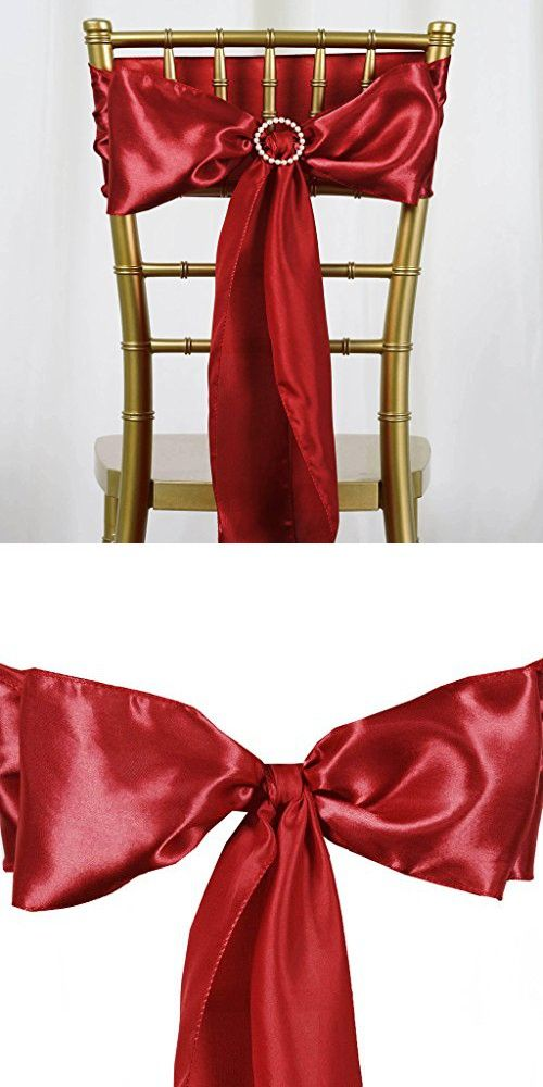 Balsacircle 50 Wine Satin Chair Sashes Bows Ties Wedding Party Ceremony Reception Event Decorations Supplies Cheap Bow Tie Wedding Wedding Ties Chair Sashes