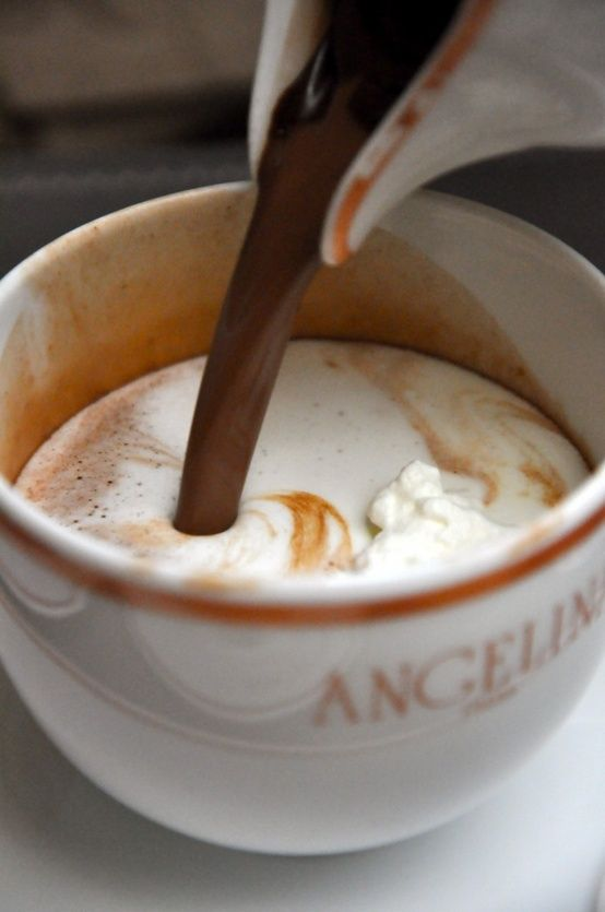 Dark chocolate hot cocoa from Angelina's in France, considered to be some of the best in the world. Is French cocoa really better? Ask a French student from #FLAGintl about the best in French cuisine by hosting with www.flag-intl.org.