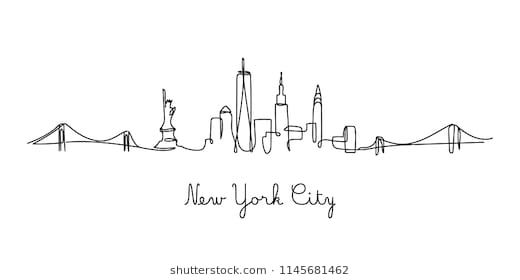 One Line Style New York City Skyline Simple Modern Minimaistic