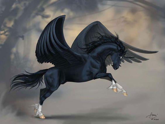 winged black Unicorn fantasy art