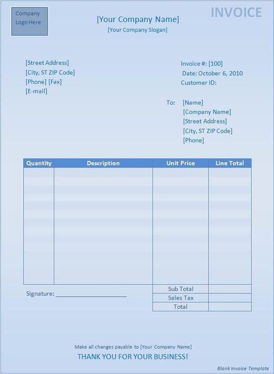 Blank Invoice Template Blank Invoice Template Templates Mob - blank invoice document