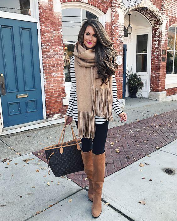 striped shirt, oversized scarf, OTK boots: