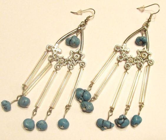 Handcrafted  Silver Plated  Pierced Earrings   Wind by ChelleStore, $10.00