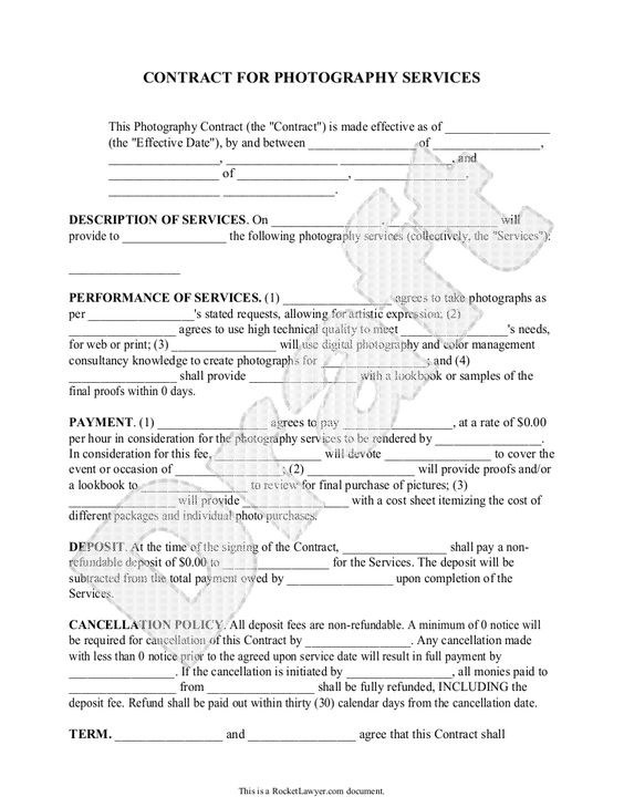 Free Printable Wedding Photography Contract Template Form (GENERIC - casual employment agreement