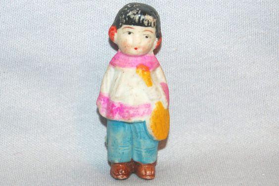 Vintage / Bisque Doll / Girl / Asian / Girl / Mandolin / Musical Instrument / frozen charlotte / penny doll / Vintage Dolls on Etsy, $9.75