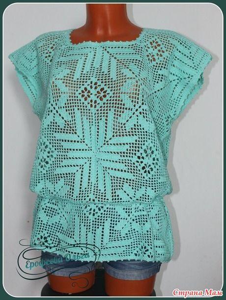 Туника в стиле филейного вязания: