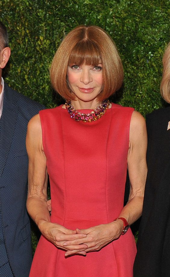 Anna Wintour wore a custom Calvin Klein dress at the In Vogue: The Editor's Eye screening in NYC.