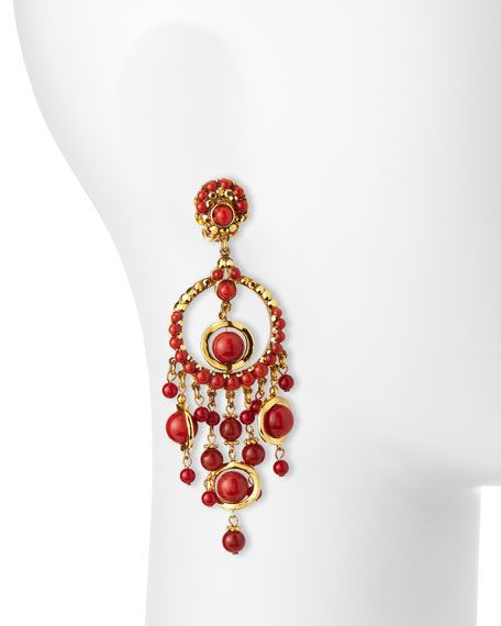24k plated chandelier clip earrings w coral drops barrera jewelry 24k plated chandelier clip earrings w coral drops aloadofball Image collections