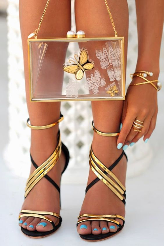 Schutz Black and Gold strappy heels &amp Plexiglass butterfly clutch