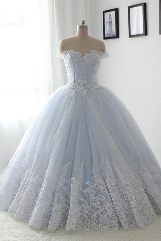 Light blue organza lace sweetheart A-line long dress,princess ball ...