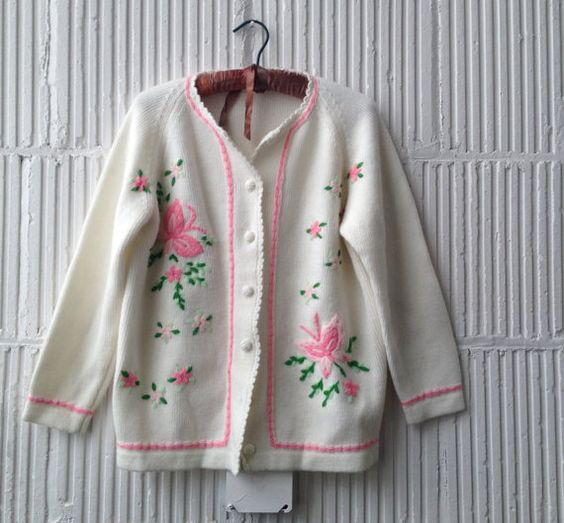 60s Spring Butterfly Cardigan by joyofvintagewithsam on Etsy, $35.00