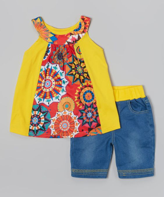 This Chit-Chat Yellow Floral Yoke Tunic & Pants - Toddler & Girls by Chit-Chat is perfect! #zulilyfinds