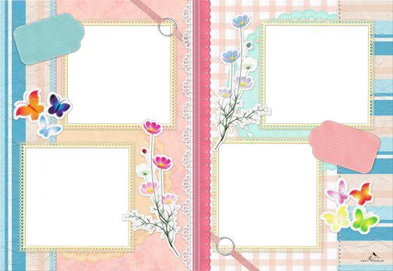 Plantilla scrapbook 29x42 para la creaci n de foto libros - Plantillas de mariposas ...
