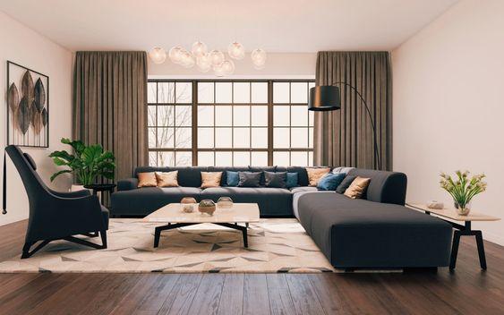 Salon décoré dans un style contemporain avec des rideaux aux fenêtres