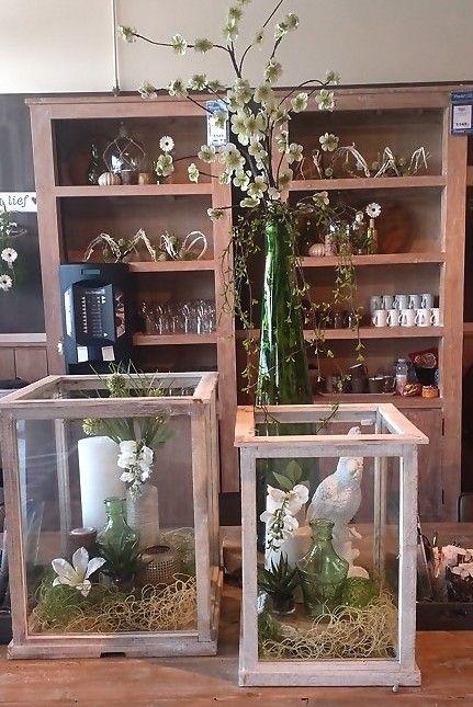 Windlicht kaars decoratie vaas vogel hout bloem plant inspiratie groen tuin - Outdoor tuin decoratie ideeen ...