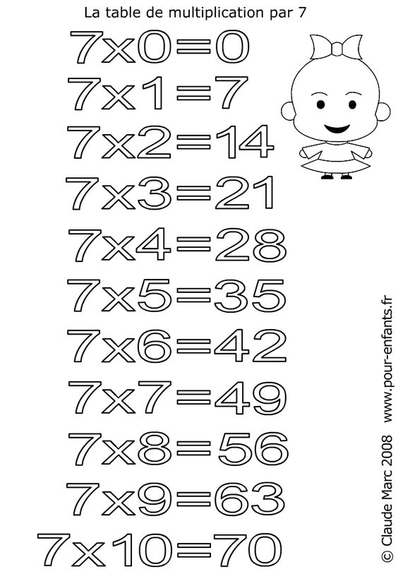 Coloriage table de multiplication par 7 imprimer les for Coloriage magique table x 6