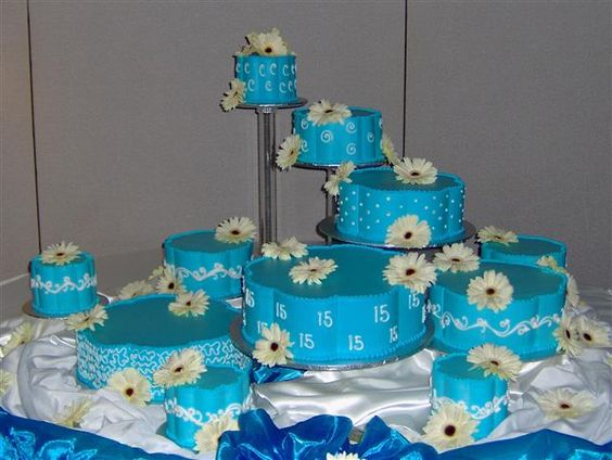 turquiose quinceanera cake, this was similar to my cake except it was white, whith lace and an assortment of blue flowers