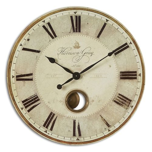 Uttermost Harrison Gray Wall Large Clock Wall Clock Brass Wall Clock Grey Clocks