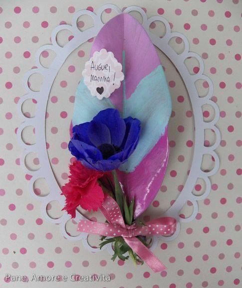 Lavoretti festa della mamma: il bouquet per la mamma di fiori e foglie di magnolia
