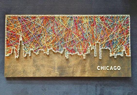 Chicago Skyline String Art by CactusCustomDesigns on Etsy