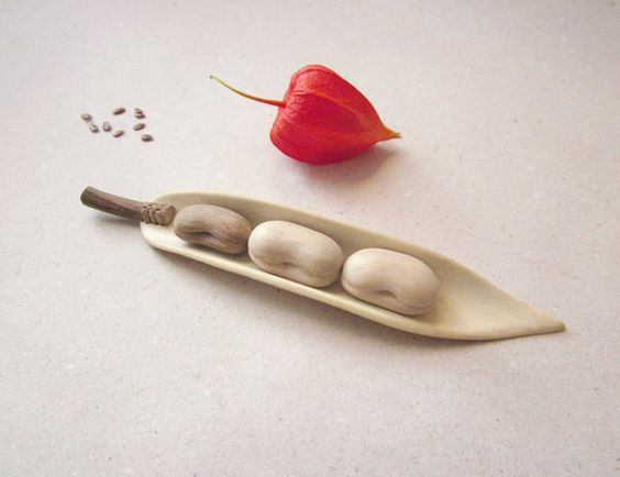 Bean pod kitchen decoration  wood carving natural home by plad, $28.00