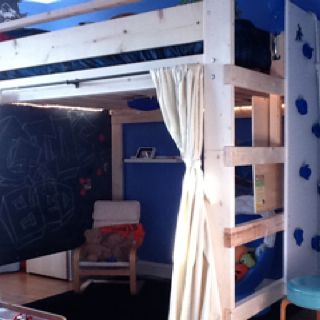 giovanni 39 s new loft bed from we added a few cool things chalkboard and rock. Black Bedroom Furniture Sets. Home Design Ideas
