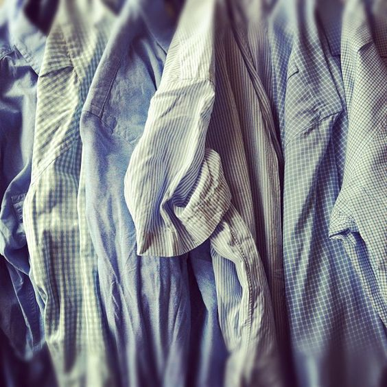 Blue shirts.