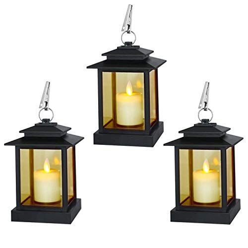"""battery operated. 2 PACK HOME TRENDS Small  10/"""" Black Lantern with Candle"""