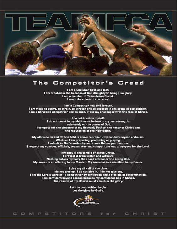 The Competitor's Creed from FCA (fellowship of Christian athletes) read before every race