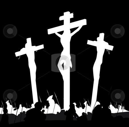 Vector - Crucifixion calvary scene in black and white stock vector ...