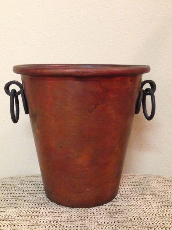 pottery barn copper rustic ice wine bucket handles urban farmhouse style new ice copper and wine. Black Bedroom Furniture Sets. Home Design Ideas