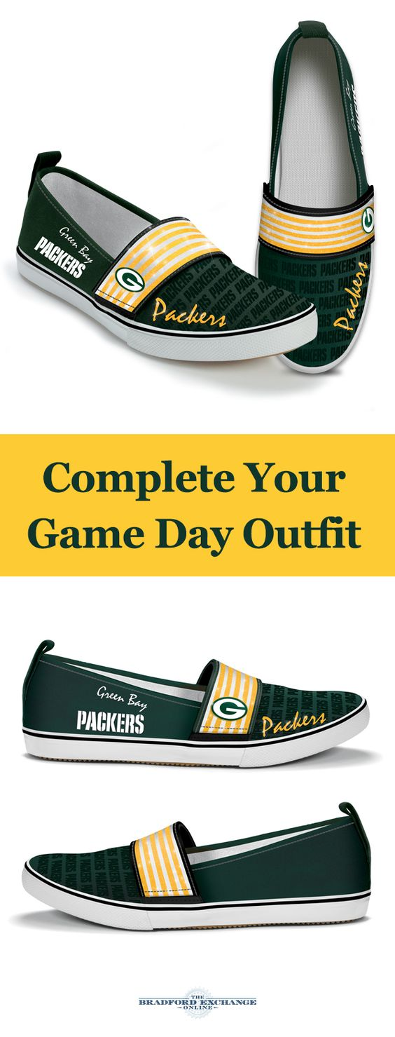 Step out with pride for your Green Bay Packers! These officially-licensed canvas slip-on shoes sport the Packers team colors and logos, glittery accents and cushioned soles. Built to last and packed with spirit, this eye-catching pair is a must for Packers fans.