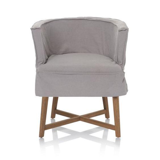 Sessel, gedrechselte Beine, 100% Baumwolle, Gummibaumholz Vorderansicht
