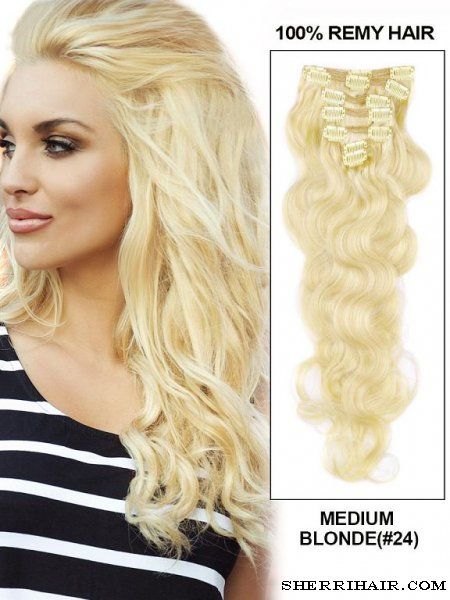 """22"""" 7 Piece Body Wave Clip In Indian Remy Human Hair Extension - 24"""