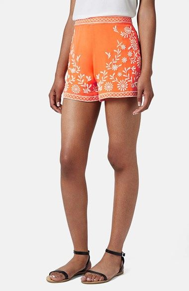 Orange And White Shorts