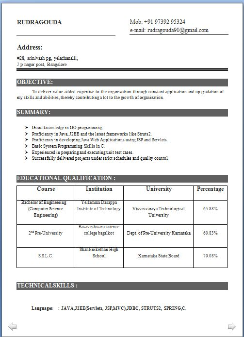 curriculum vitae formato europeo pdf Beautiful Excellent - j2ee jsp resume
