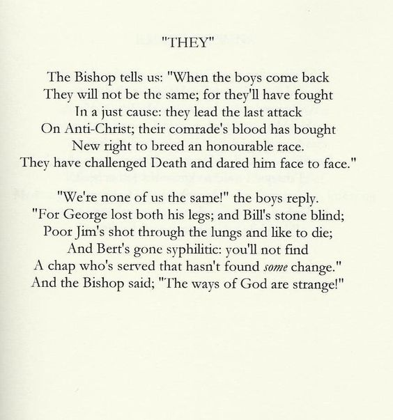 the effect by siegfried sassoon Siegfried sassoon 1 the importance of siegfried sassoon siegfried sassoon was one of the first writers brave enough to use poetry to describe war as it really is: brutalising, destructive, horrific, and an indefensible waste of human lives.