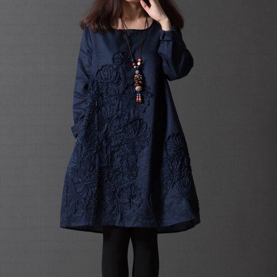 2016 Spring Fashion Retro Cotton Linen Women Dress Shirt Embroidered 6 Color Print Dress Casual Long Sleeve Dresses Plus Size