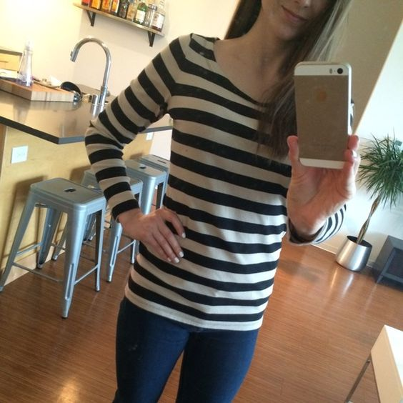 Banana Republic Striped Shirt Medium. Black and cream striped Banana Republic long sleeved shirt. Make an offer :) Banana Republic Tops Tees - Long Sleeve