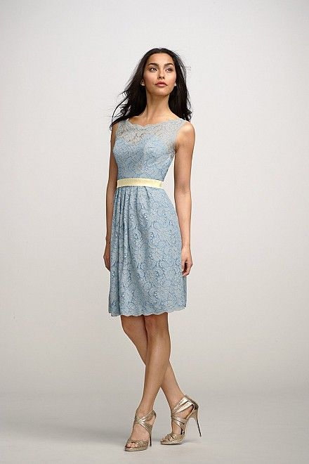 Watters Bridesmaid Dress - Grey Lace Light Blue Dress with Light ...