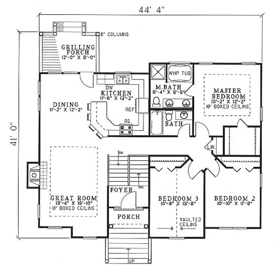 Plan ND  Open Floor Plan Three Bedroom Design   Floor Plans    open bdrm floor plans   Plan Sloping Lot  Narrow Lot  Split Level House Plans  sq  ft     bonus room  optional shop and storage rooms