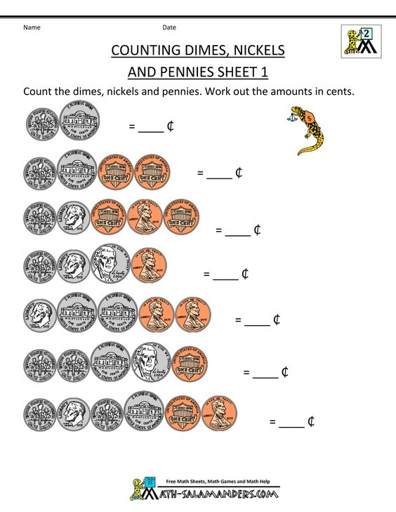 counting money worksheets dimes nickels and pennies 1 | money ...