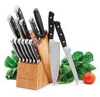 Wolfgang Puck 15 Piece Cutlery SET by Wolfgang Puck. $69.93. Each blade is skillfully honed by hand for razor-like sharpness; Handles feature a sleek stainless steel cap for an added touch of style, elegant bamboo block is the perfect compliment to any décor; Ergonomic triple riveted handles for ultimate comfort and durability; Precision-forged from a single piece of high quality carbon steel; Full tang design provides optimal balance and strength. Wolfgang Puck...