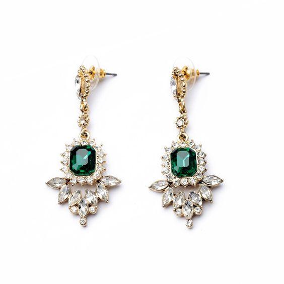 New 2014 Jewelry Fashion Crystal Hot-selling Women Dress Earrings of Gold Plated Geometric Shourouk Stud Earrings Wholesale $6.66